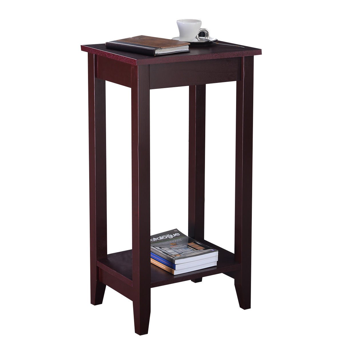 Amazon com giantex tall side end table with shelf coffee night stand bedside sofa table for living bedroom espresso kitchen dining