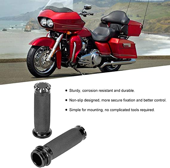 Akozon Electronic Throttle Hand Grips Motorbike Handle Sleeve RSD Black Skid-Proof Fits for FLTRX FLHR Tri-Glide