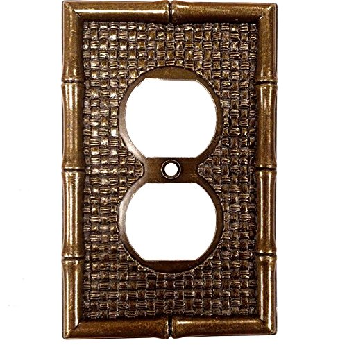 Leviton Antique Brass Tiki Bamboo Receptacle Wallplate Duplex Outlet Cover ()