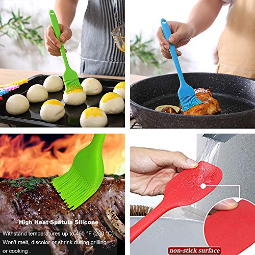 Silicone Basting Brush Baking Pastry Brush Set with Spatula Heat Resistant Brush Spread for Cakes BBQ Oil Butter Sauce Marinades Beginners Oven Grilling Kitchen Food Grade Dishwasher Safe-5 Pack