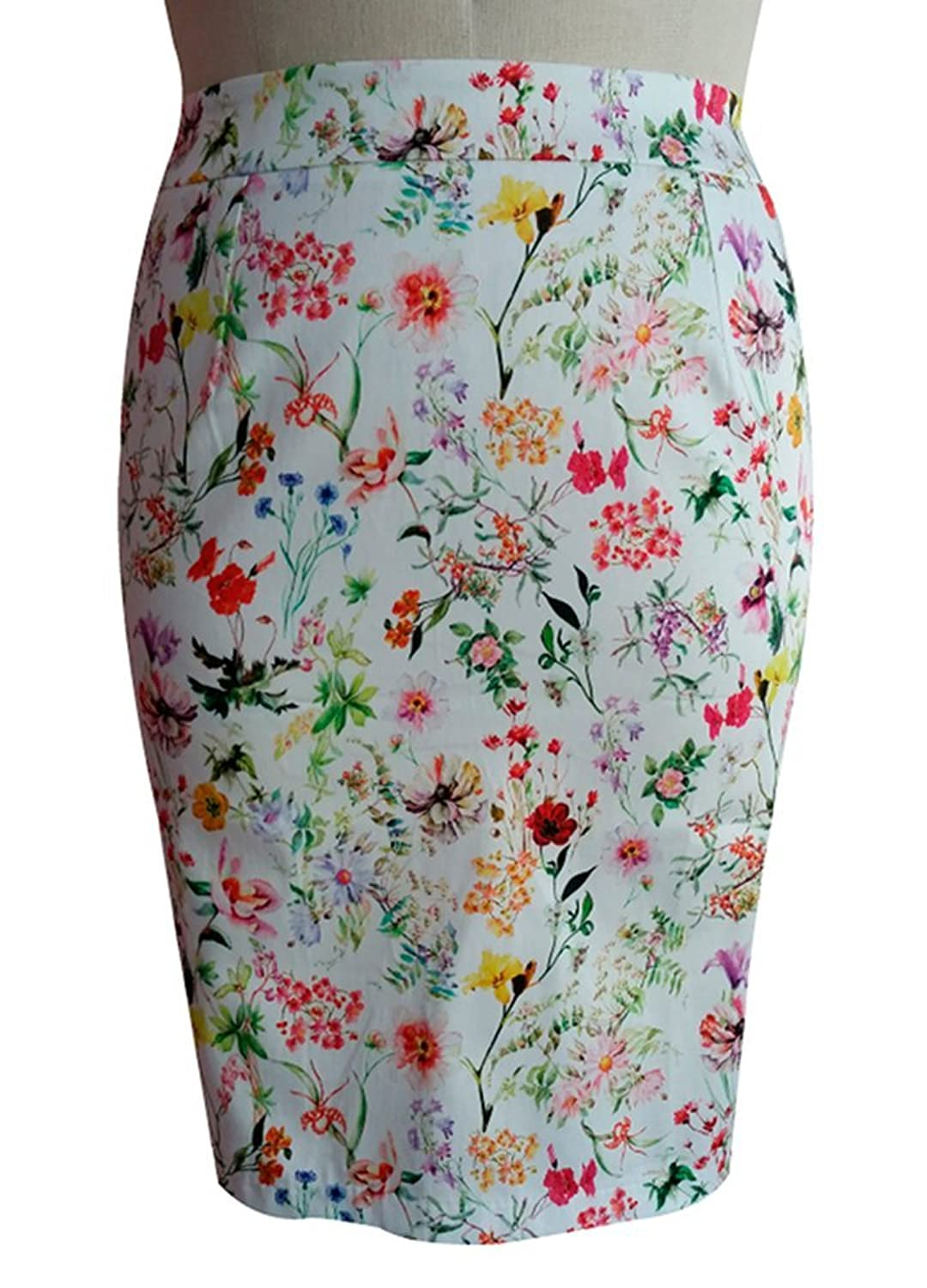 TD New York Curvy Women's Plus Size CHRISSA Cotton Pencil Skirt in Summer Florals