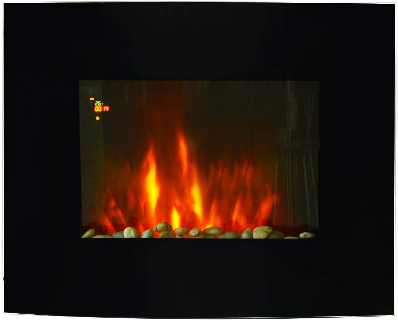 HOMCOM Chimenea Eléctrica Tipo Estufa de Pared con Efecto Llamas y Luz LED de 7 Colores con Mando a distancia 900W/1800W 65x11.4x52cm