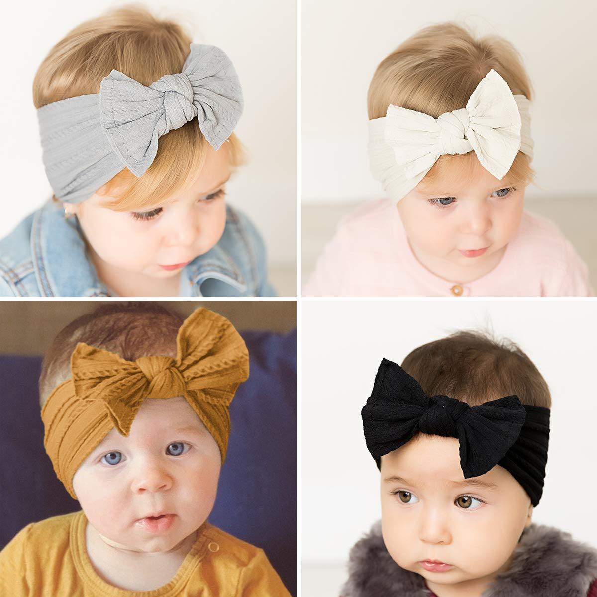Makone Handmade Baby Headbands with Big Hair Bows Stretchy Headbands for Infant Baby Girls