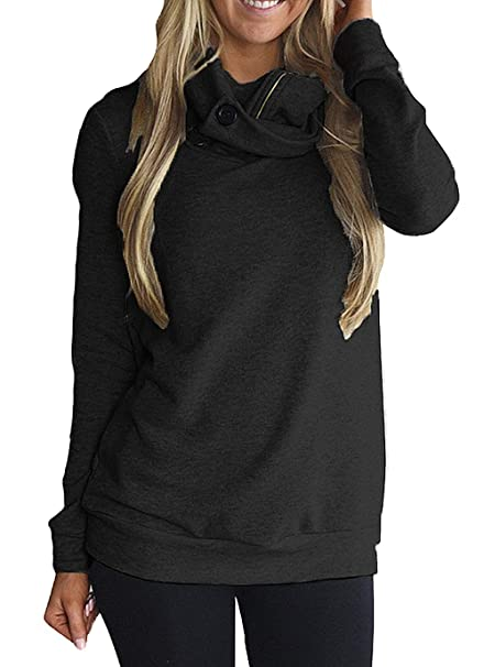 f0f696499762a Happy Sailed Women Cowl Neck Button Long Sleeve Casual Tunics Hoodie Autumn  Sweatshirts at Amazon Women s Clothing store
