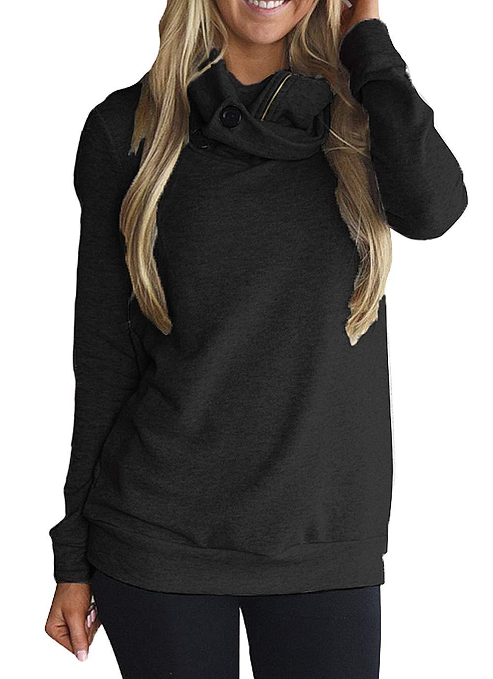 Happy Sailed Women Long Sleeve Button Zipper Cowl Neck Fleece Pullover Hoodie Sweatshirts Tops X-Large Black