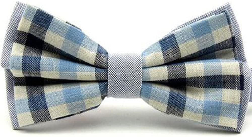 Light Blue /& Navy Blue Check Vintage Style Bow Tie