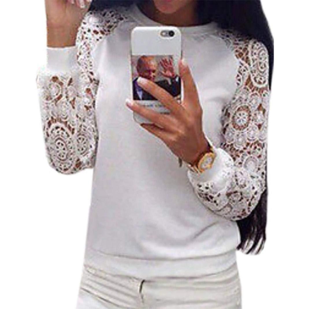 Ropa De Mujer Encaje Cuello Redondo Manga Larga Camiseta Top, Belasdla OtoñO Encaje Mangas Larga Blusa Elegante Casual Bonita Tops