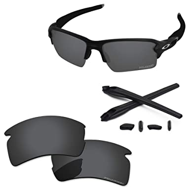 b5428e19f9a PapaViva Lenses Replacement   Rubber Kits for Oakley Flak 2.0 XL Black Grey  - Polarized