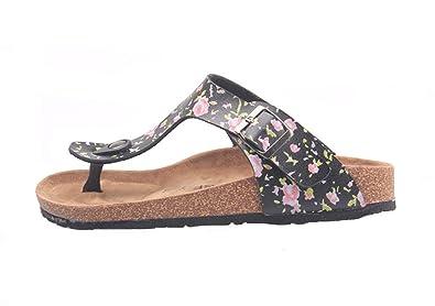 1dc6c933eb9c SK Studio Damen Sandalen Handmade Kork Sandalen Flach Birko-Flor  Zehentrenner Kork Schuhe Pantoletten Sommer