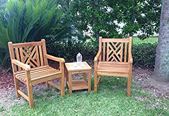 Teak Wood Chippendale Outdoor Patio Arm Chair, Solid A-Grade Teak Wood
