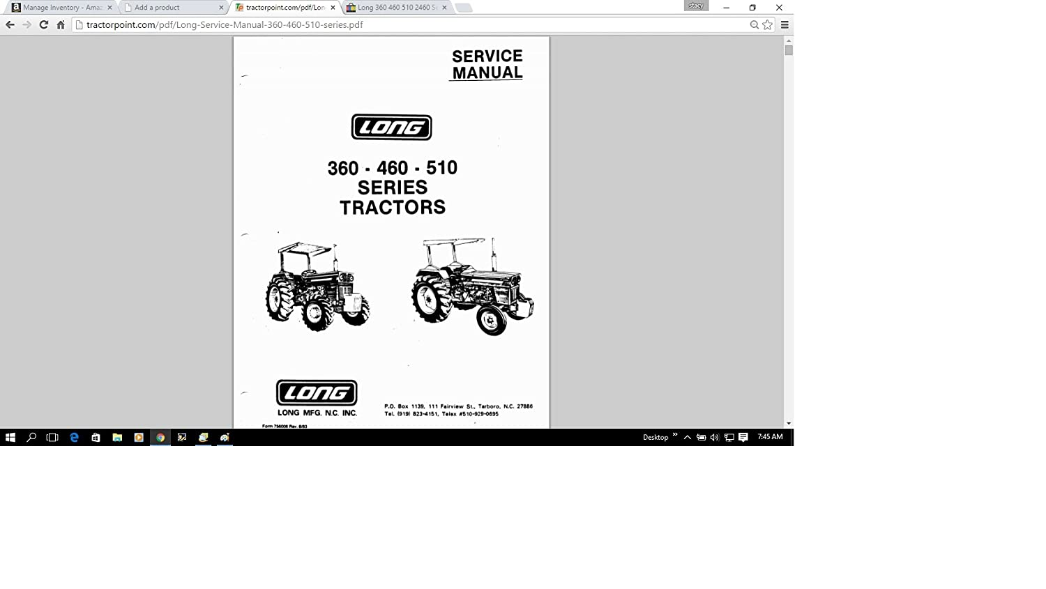 Amazon.com: Long 360 460 510 2460 Series Tractor Service Repair Maintenance  Manual: Everything Else