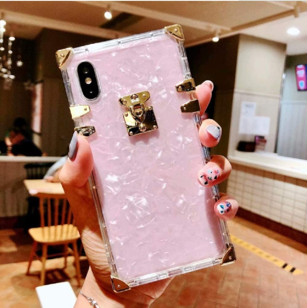 BABEMALL Compatible for iPhone 6 / 6s /iPhone 7 /iPhone 8 Case Luxury Square Sparkle Glitter Light Pink Shell Transparent TPU Phone Metal Corner Case (Shell Pink,)