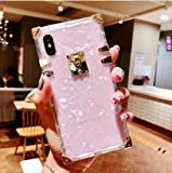 """BABEMALL Compatible for iPhone X/XS 5.8"""" Case,Luxury Square Glitter Light Pink Shell Transparent TPU Phone Metal Corner…"""