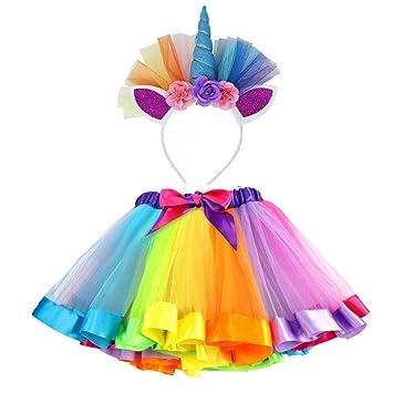 VAMEI Disfraz de Unicornio para Niñas Diadema Unicornio ...