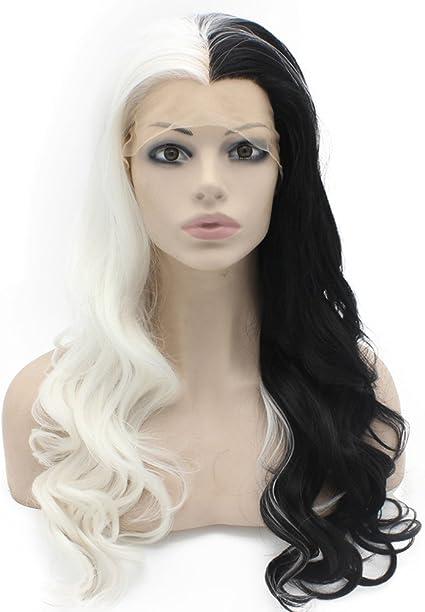 Peluca larga ondulada mitad blanca negra de dos tonos de encaje sintético frontal: Amazon.es: Belleza