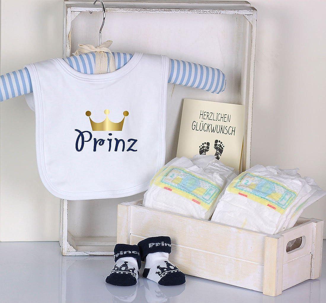 Trend Mama Windeltorte blau weiss Junge L/ätzchen Babysocken Prinz goldene Krone