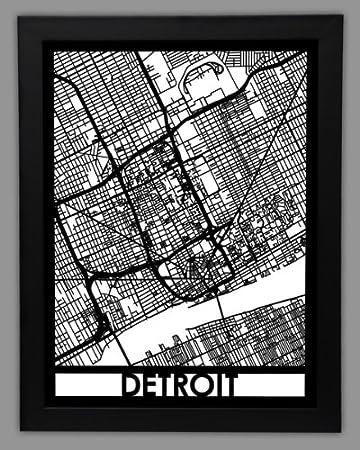 Amazoncom Large Framed City Map Detroit Cut Maps Home Kitchen
