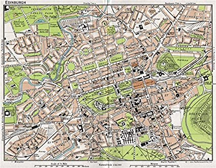 Map Edinburgh.Amazon Com Edinburgh Vintage Town City Map Plan Scotland 1967