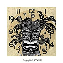 SCOCICI Print Square Wall Clock, 8 Inch Tiki Mask Figure Palm Trees Ornate Flowers Sunny Summer Party Print Decorative Quiet Desk Clock for Home,Office,School