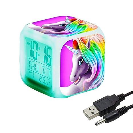 Unicornio Despertador Infantil Relojes de alarma digitales para niñas, LED de noche que brilla intensamente Reloj LCD con luz para niños Despertar ...