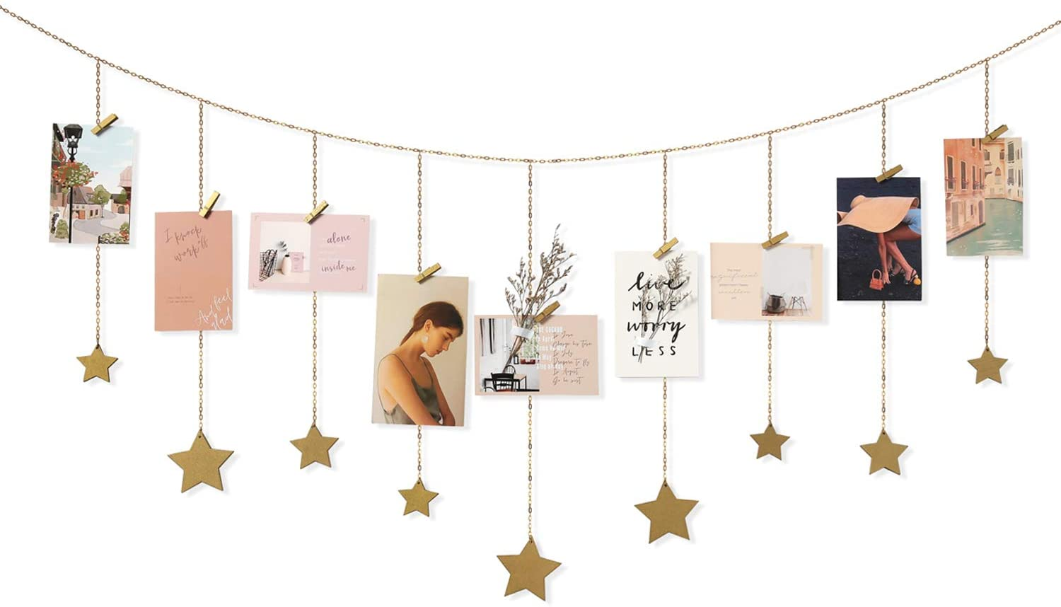 Mkono Hanging Photo Display Wood Stars Garland with Chains Picture Frame Collage with 30 Wood Clips Wall Art Decoration for Home Office Nursery Room Dorm,Gold