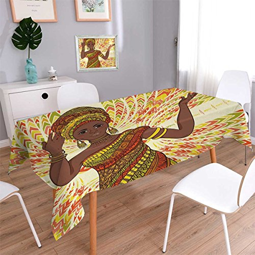 Turquoise African Beads Rectangle (Anmaseven African Woman Rectangle Dinning Tabletop Decor Dancing Woman Hand Drawing Ethnic Geometric Ornament Colorful Print Table Cover for Kitchen Green Red Yellow Size: W52 x L70)