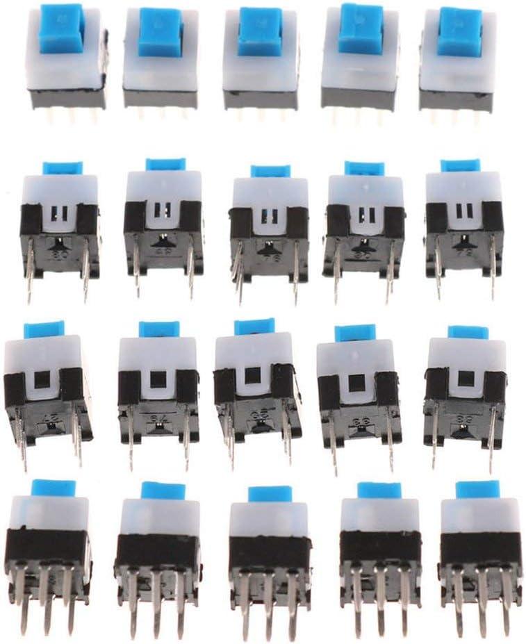 20 St/ück Verriegelung 7 x 7 mm Mini Schalter mit Druckknopf DIP-6 Pins mehrfarbig