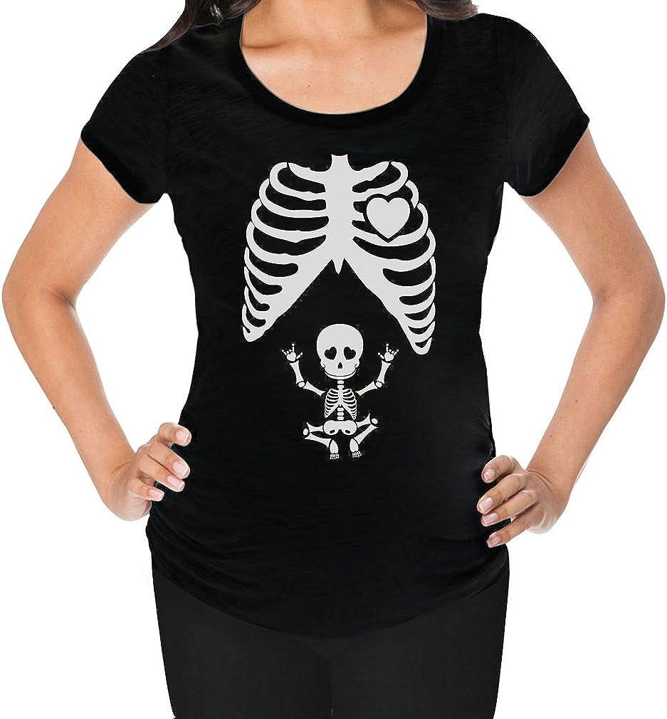 Tstars - Pregnant Skeleton Baby Rock Xray Maternity Shirt
