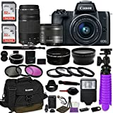 Canon EOS M50 Mirrorless Digital Camera (Black) Bundle w/Canon EF-M 15-45mm IS STM & EF 75-300mm f/4-5.6 III Lenses + Auto (EF/EF-S to EF-M) Mount Adapter + Canon Water Resistant Case + Accessories