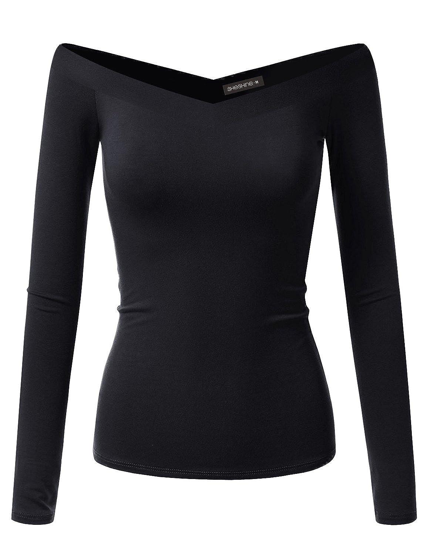 Black Sheshine Women Long Sleeve Slim Fit Stretch Crop Top OffShoulder V Neck TShirt