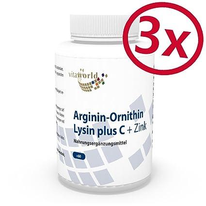 Pack de 3 Arginina - Ornitina - Lisina + Vitamina C & Zinc 3 x 60