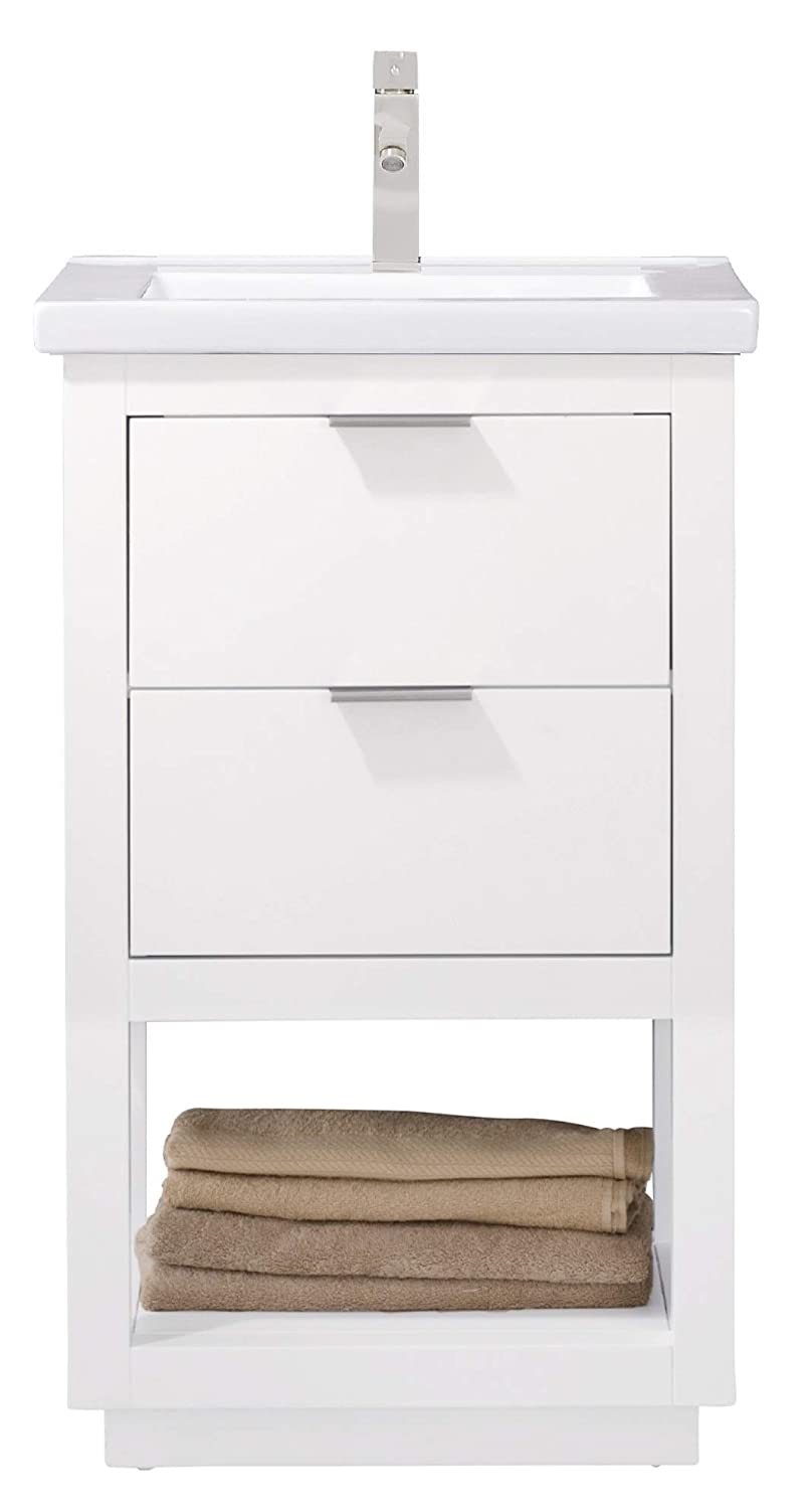 Luca Kitchen Bath LC20GWP Sydney 20 Bathroom Vanity Set in White Made with Hardwood and Integrated Porcelain Top
