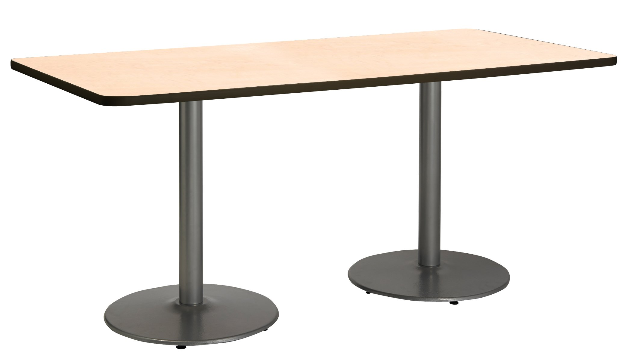 30'' x 72'' Pedestal Table with Natural Top, Round Silver Base by KFI Seating