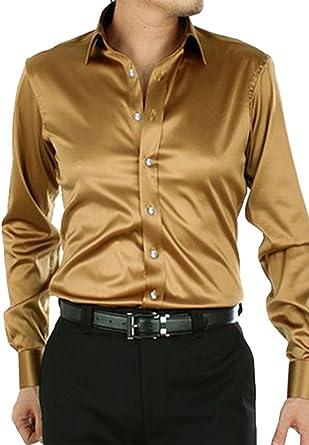 Dooxiundi - Camisa de vestir para hombre, color sólido - Negro - Small: Amazon.es: Ropa y accesorios