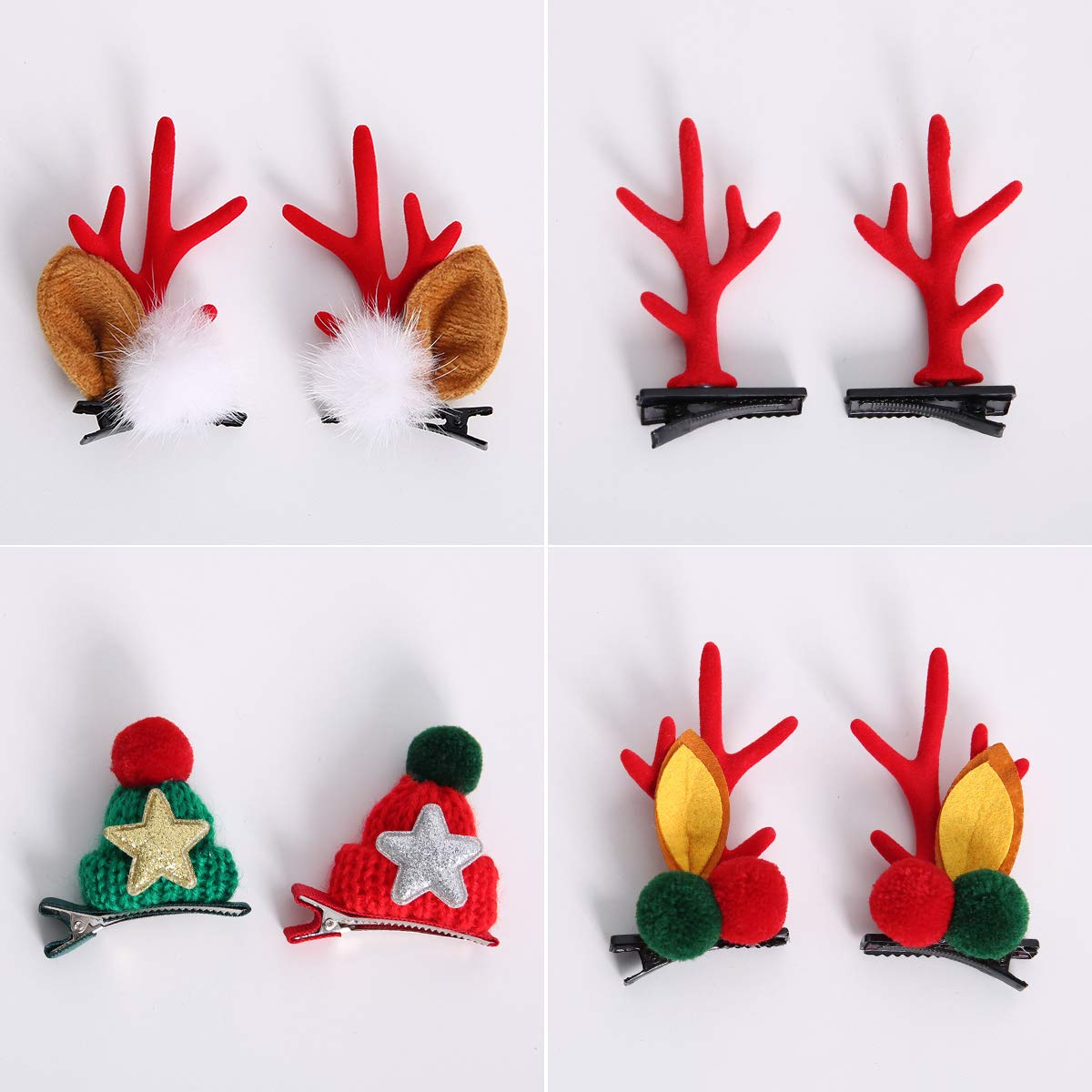 DAWOOWOO 8Pcs Christmas Hair Clips Hairpin Hair Accessories Gift Cute Hairpins Hair Style Christmas Decorations Hair Décor Reindeer Christmas Hat Pins Golden Festival Holiday Red Ornament