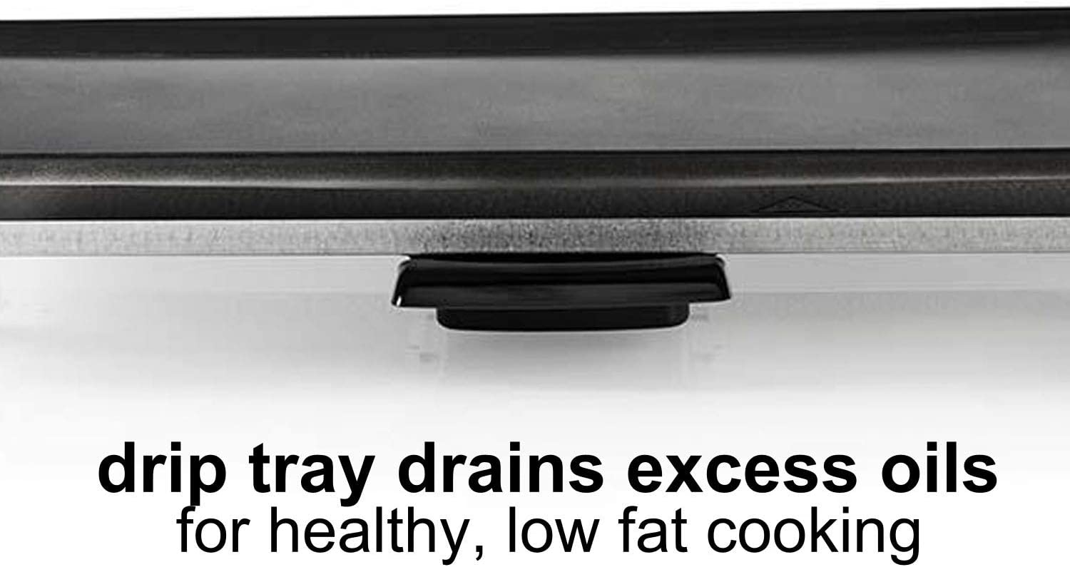 Adjustable Temperature Control and Drip Tray 2000W Black Large Non-Stick Table Top Griddle with 47.5cm x 26.5cm Hot Plate Ex-Pro Electric Teppanyaki Grill Plate