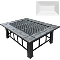 Outdoor Fire Pit BBQ Table Grill Fireplace w/Ice Tray Barbecue Picnic Heater Desk Garden Patio Camping Cooker Brazier