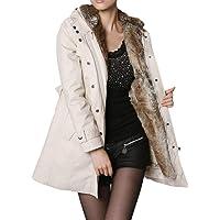 ZODOF Abrigo de Invierno,Forro de Piel para Mujer Abrigo para Mujer Invierno Cálido, Mujer Invierno Abrigo Militar con Capucha Chaqueta de Acolchado Anorak Jacket Outwear Coats