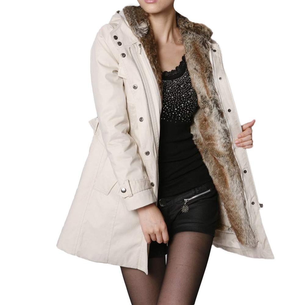 HOSOME Women Fur Lining Coat Womens Long Jacket Winter Warm Thick Hooded Parka Beige
