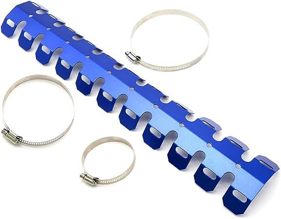 Motorrad 50cm Universal Auspuff Rohr Schutz Hitzeschild Abdeckung Für Alle Motorräder Blau Auto