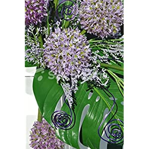 Beautiful Artificial Purple Allium and Green Leaf Floral Table Display w/ Wire Detailing 2
