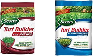 Scotts Turf Builder WinterGuard Fall Lawn Food, 12.5 Lb - Covers 5,000 Sq Ft & 32367F Turf Builder Halts Crabgrass Preventer with Lawn Food, 5,000 sq. ft