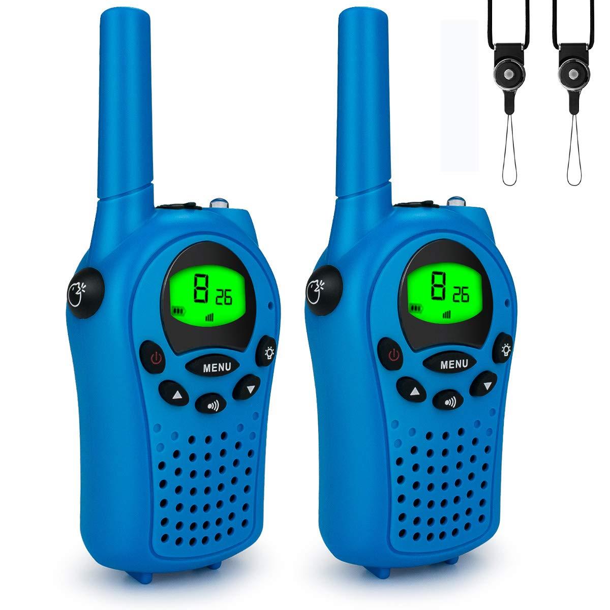 Alcoon 2 St/ücke Walkie Talkies Set Kinder Funkger/äte Und Batterie und Outdoor-Reisen LC-Display VOX 8 Kan/äle Taschenlampe Funkger/ät Blau