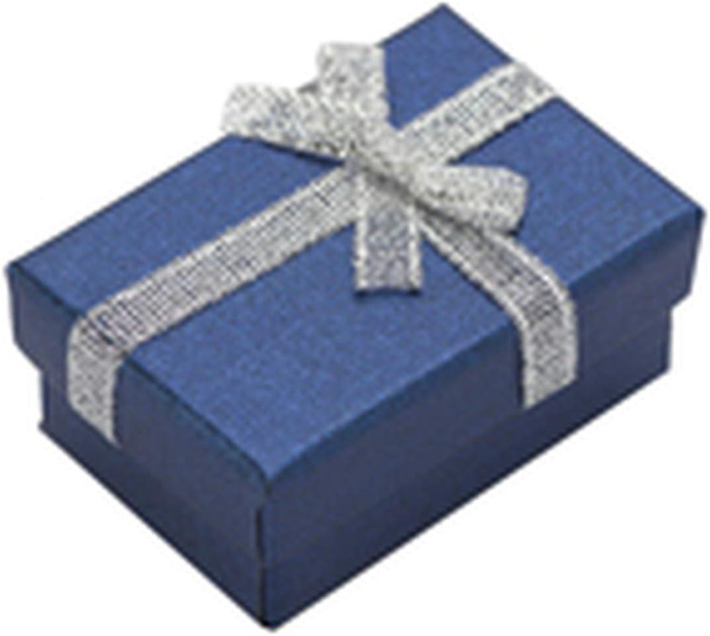 Hombro juvenil 4 x 6 cm Joyero de papel perla joyería caja de regalo joyería caja de regalo pendientes collar colgante anillo caja blanca esponja, azul oscuro, talla única