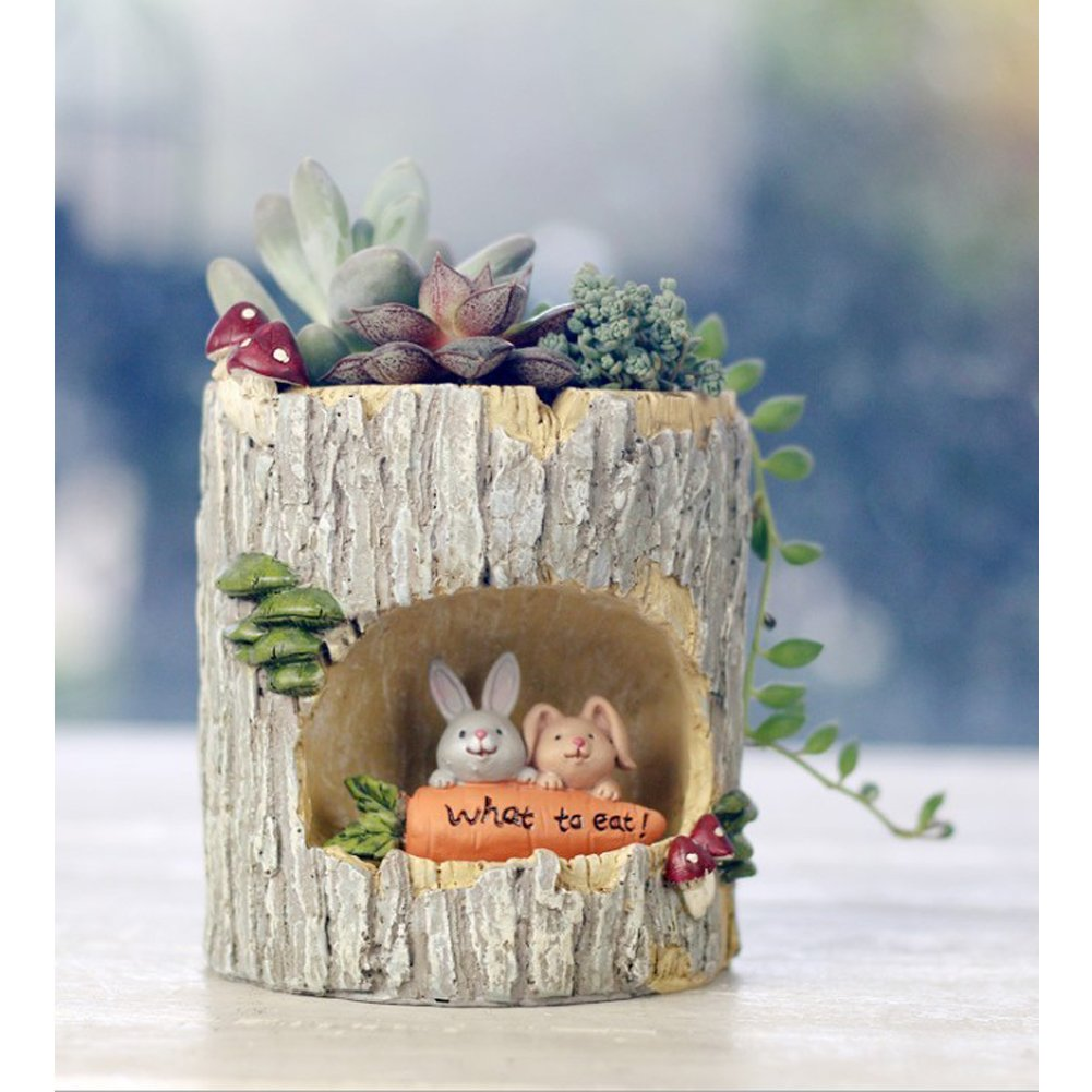 Uranosky Creative Mini Rabbit Family Resin Succulent Plant Pot Planter Container Office Home Garden Decoration