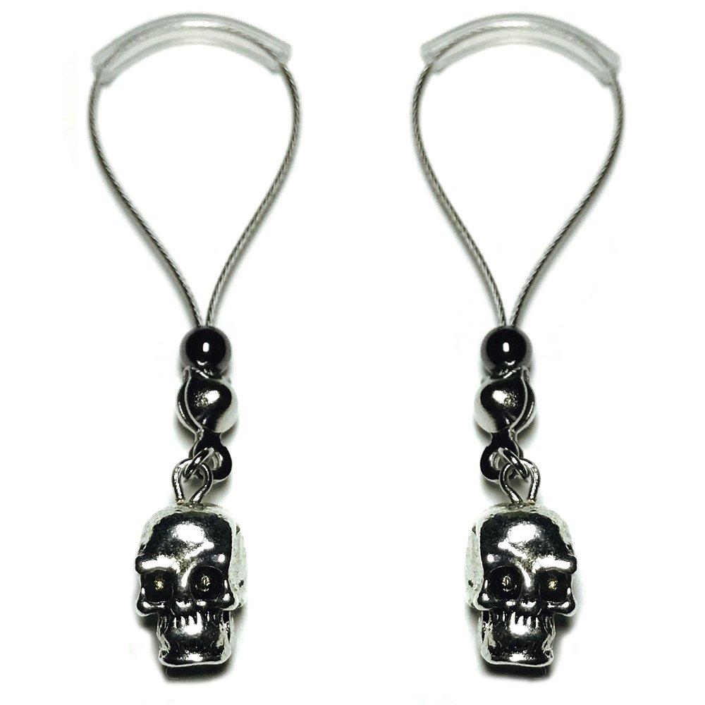 BoDivas Nipple Jewelry Noose Rings Silver Metal Skull Hematite Adjuster Non Piercing Nipplerings