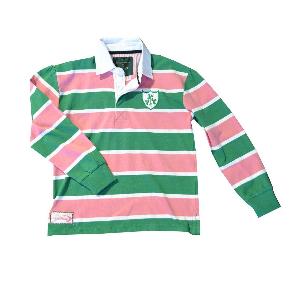 Traditional Craft Ltd Pink//Green Ireland Shamrock Striped Rugby Kids Shirt