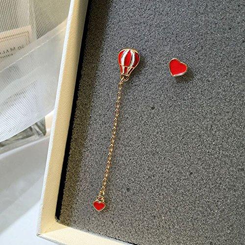 Meng things cute hot air balloon drop earrings enamel asymmetrical love heart gold tassel earrings earrings -