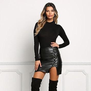 3f1a835b0 for Girlfriend Women Skirt Daoroka Sexy Faux Leather Split Bandage Pencil  Bodycon Casual High Waist Zipper