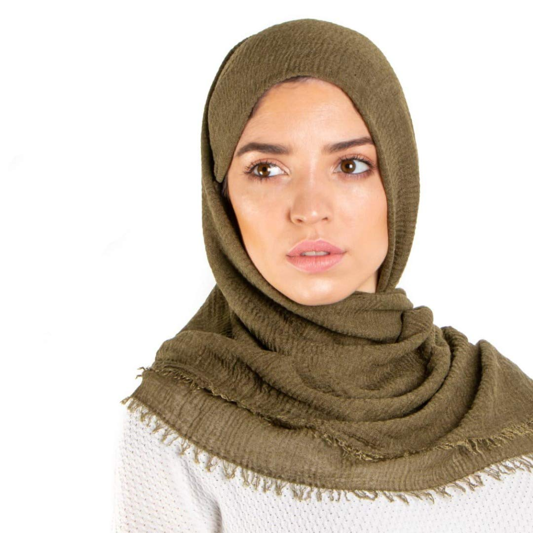 White Snow Rose Wood Premium Crimple Crimp Hijab Scarf with Frayed Edges